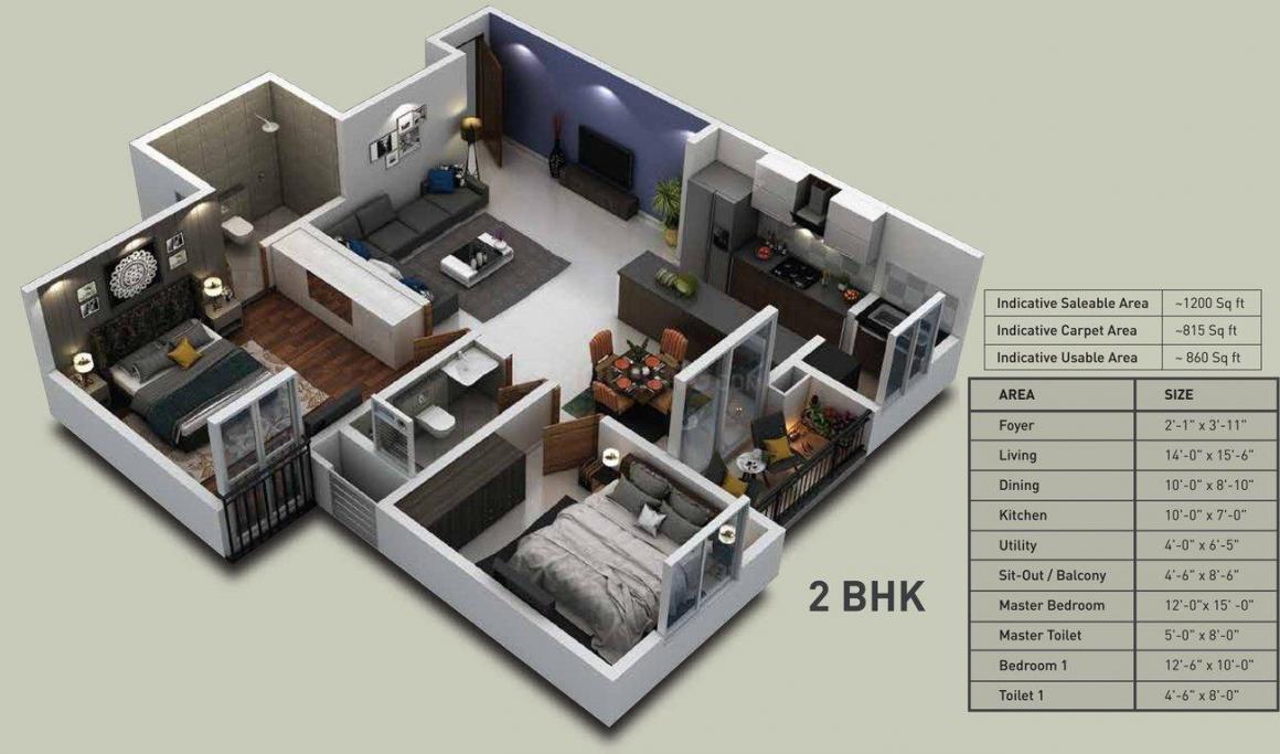Puravankara Zenium Floor Plan: 2 BHK Unit with Built up area of 1200 sq.ft 1