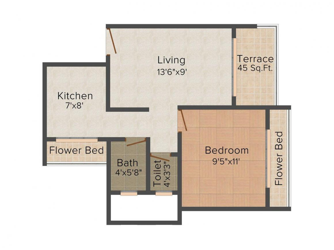 Floor Plan Image of 705 - 1220 Sq.ft 1 BHK Apartment for buy in Neel Ashima