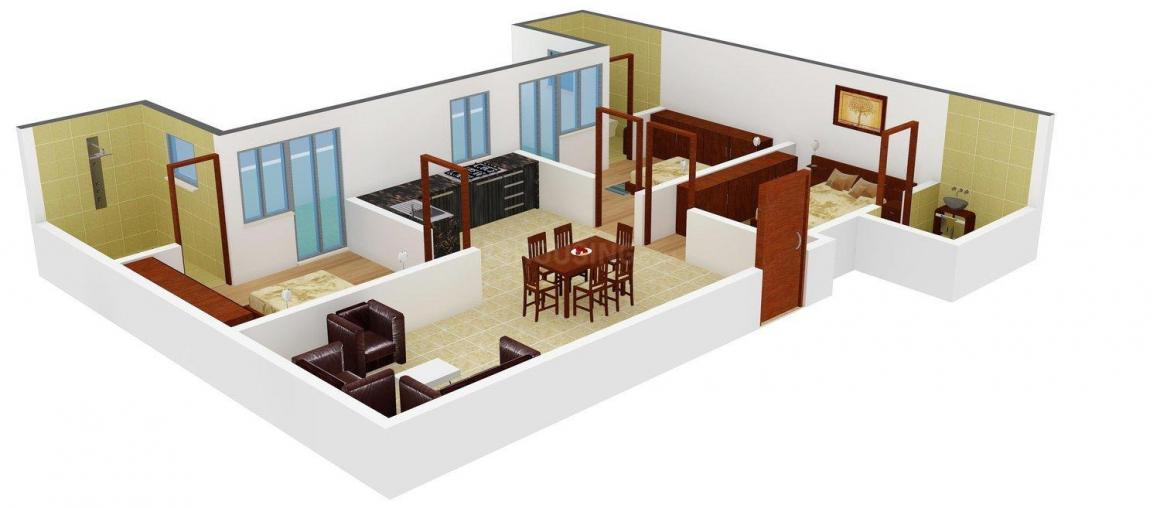 YK Aggarwal Floors A - 2241 Floor Plan: 3 BHK Unit with Built up area of 1300 sq.ft 1