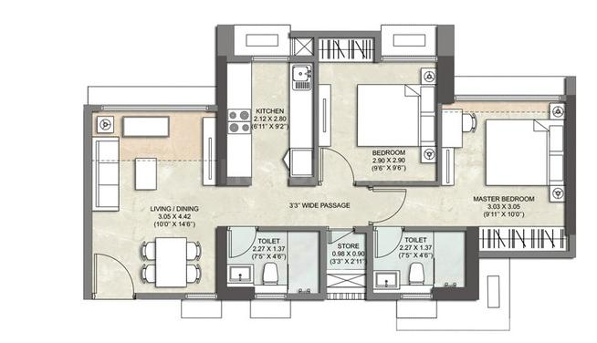 Kalpataru Immensa C Floor Plan: 2 BHK Unit with Built up area of 707 sq.ft 1