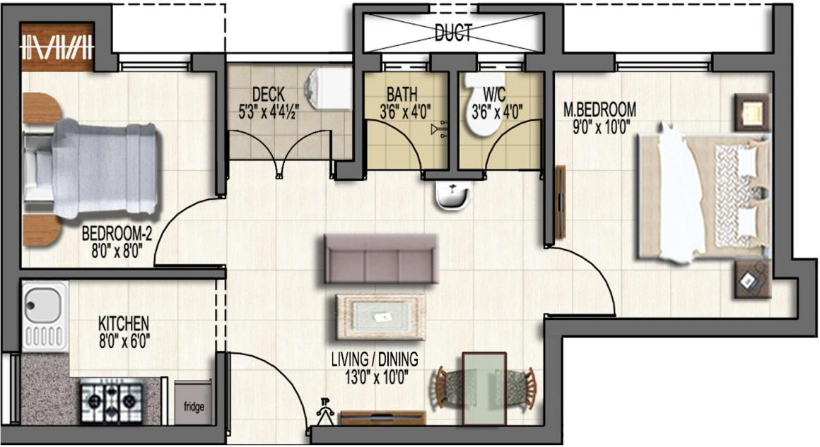 Doshi First Nest Floor Plan: 2 BHK Unit with Built up area of 638 sq.ft 1