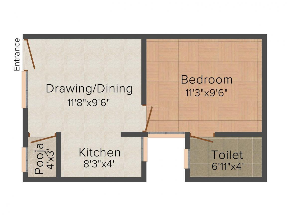 Floor Plan Image of 0 - 452.0 Sq.ft 1 BHK Independent Floor for buy in S.R. Apartment - 2
