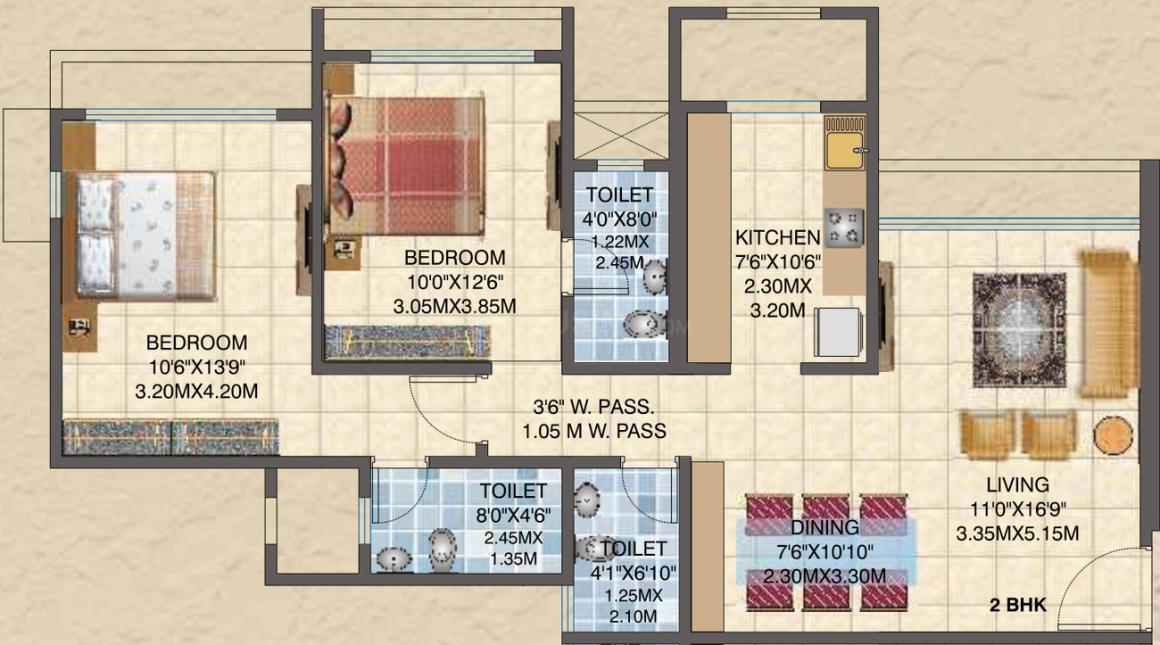 Sun Asmita Sand Dunes Floor Plan: 2 BHK Unit with Built up area of 900 sq.ft 1