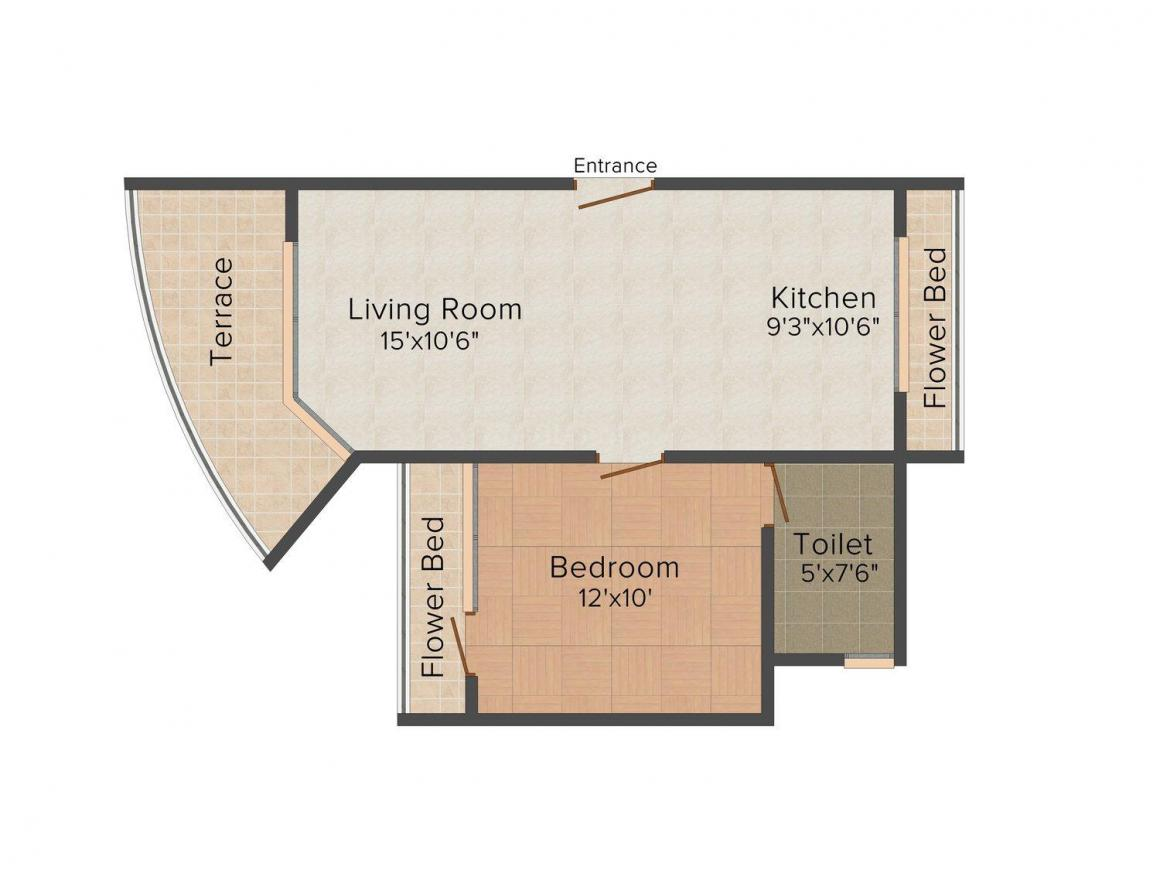 Floor Plan Image of 0 - 750.0 Sq.ft 1 BHK Apartment for buy in Baba Solitaire