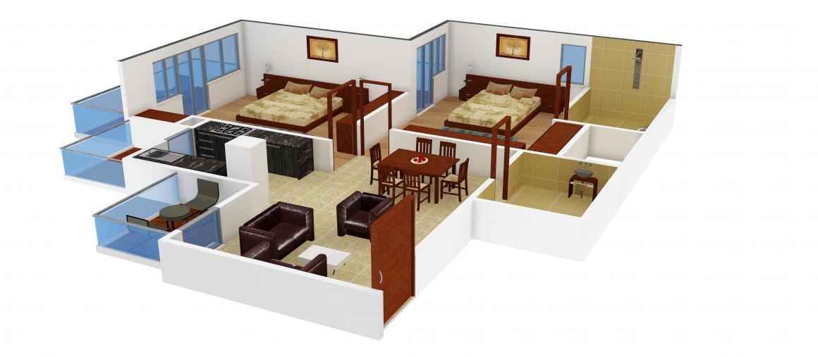 Floor Plan Image of 925.0 - 2250.0 Sq.ft 2 BHK Apartment for buy in Unibera