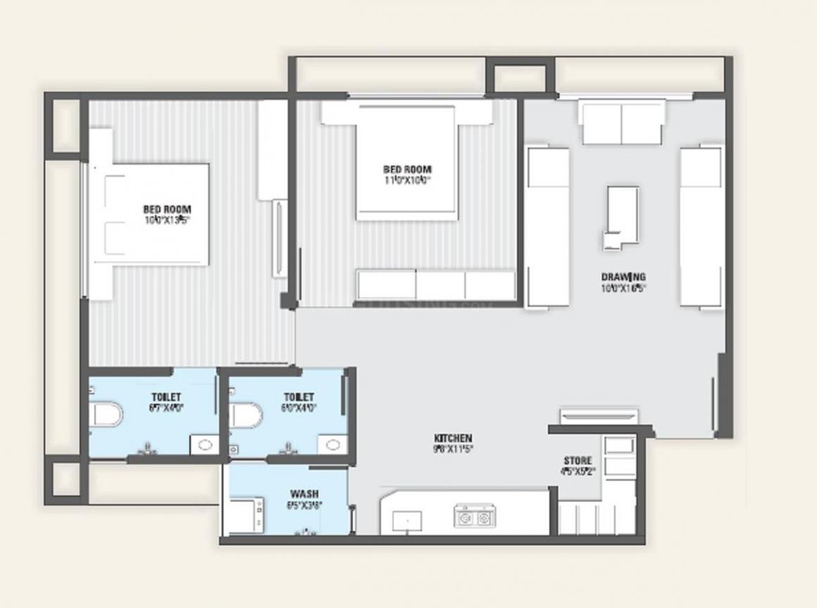 Ashapura Samanvay Residency Floor Plan: 2 BHK Unit with Built up area of 1026 sq.ft 1