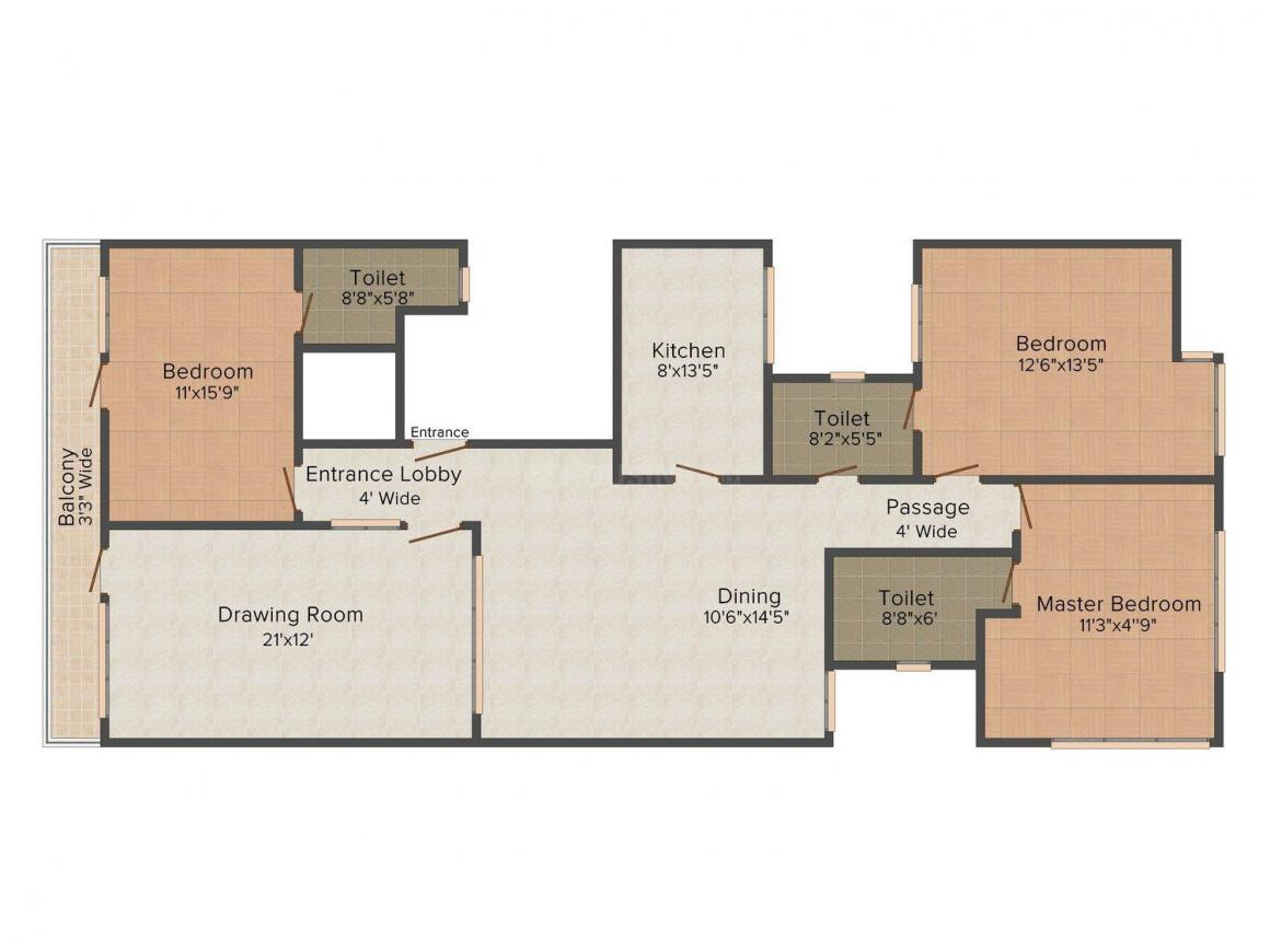 Kinetic Floors 2 Floor Plan: 3 BHK Unit with Built up area of 1800 sq.ft 1