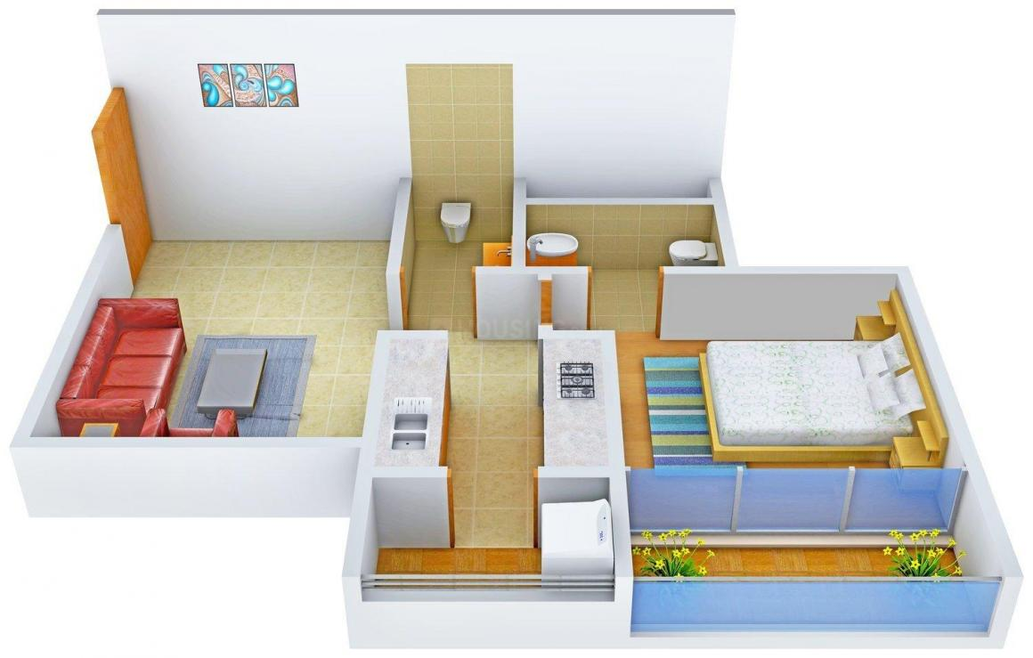 Floor Plan Image of 550.0 - 804.0 Sq.ft 1 BHK Apartment for buy in Commanders' Gateway II Apartment