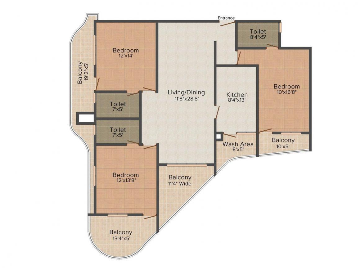 Floor Plan Image of 1448 - 3833 Sq.ft 2 BHK Apartment for buy in Landmark Shalimar Liverpool