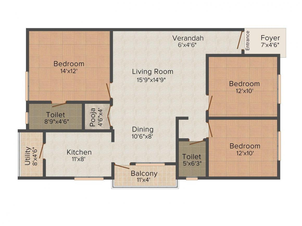 Floor Plan Image of 1210.0 - 1425.0 Sq.ft 2 BHK Apartment for buy in Vinayaka Enclave