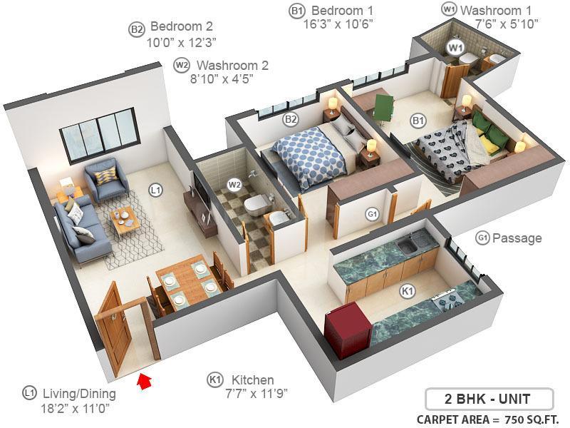 Kanakia Zenworld Phase I Floor Plan: 2 BHK Unit with Built up area of 750 sq.ft 1