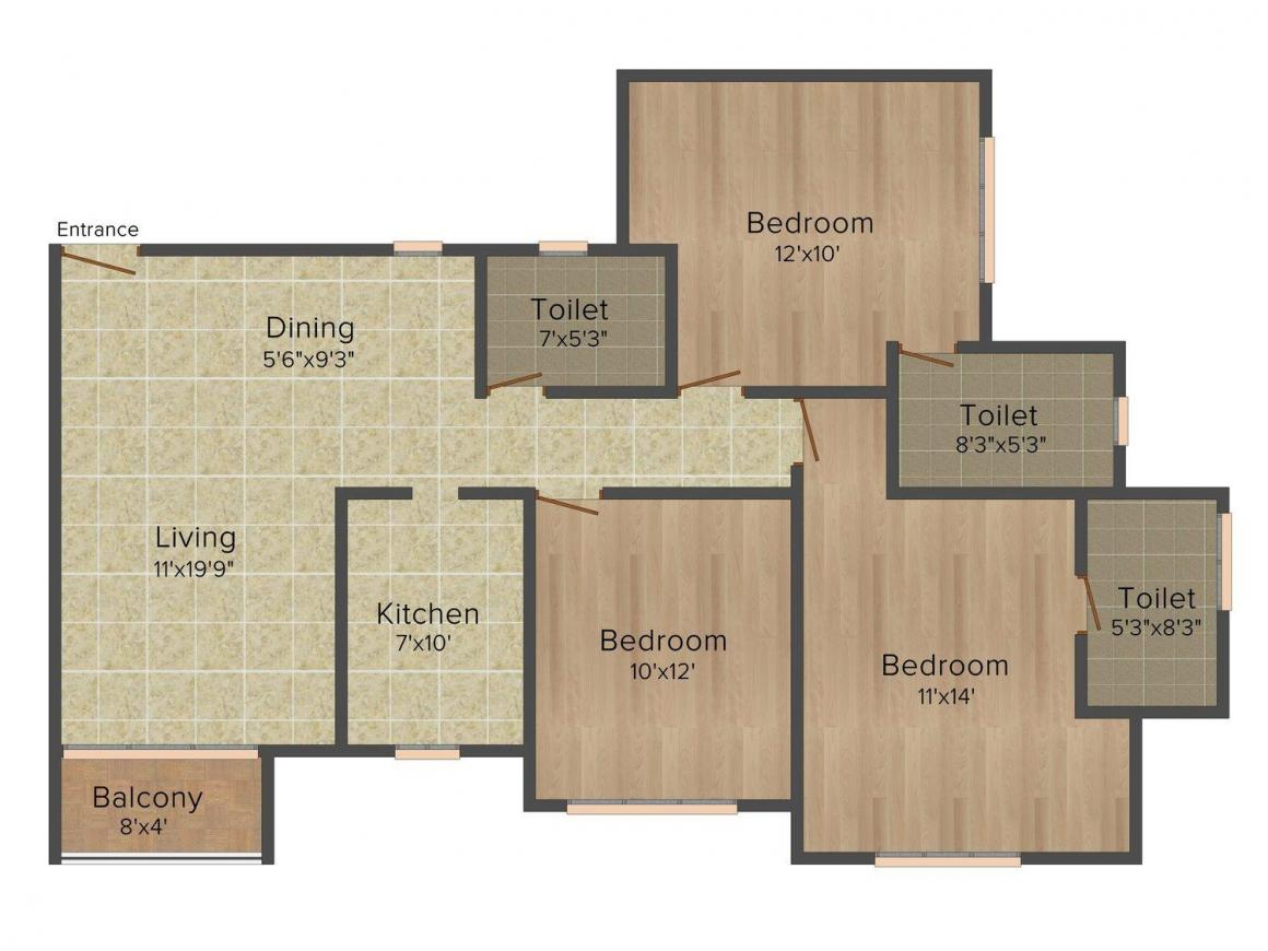 Floor Plan Image of 977.0 - 1625.0 Sq.ft 2 BHK Apartment for buy in Sheth Vasant Lawns