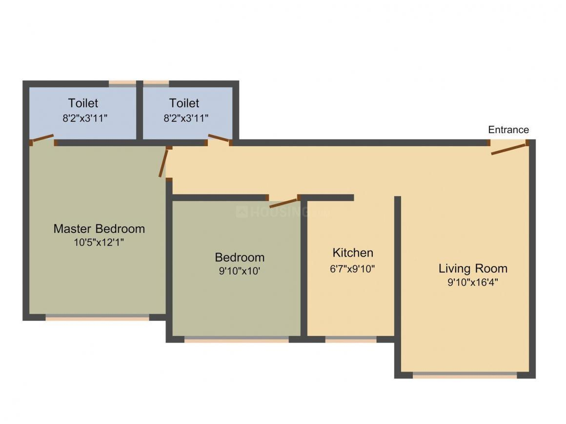 Floor Plan Image of 988.0 - 1131.0 Sq.ft 2 BHK Apartment for buy in Samarth Parsavnath