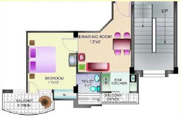 Hansmukhi Race Course Valley Floor Plan: 1 BHK Unit with Built up area of 523 sq.ft 1