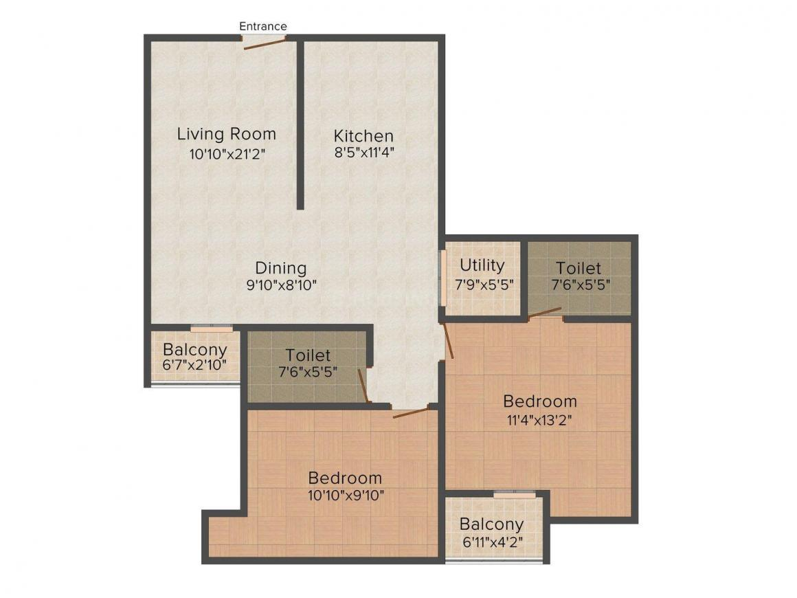 Floor Plan Image of 1200 - 1560 Sq.ft 2 BHK Apartment for buy in AMR Heights