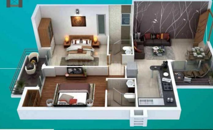Ratan Pearls Phase II Floor Plan: 2 BHK Unit with Built up area of 1034 sq.ft 1
