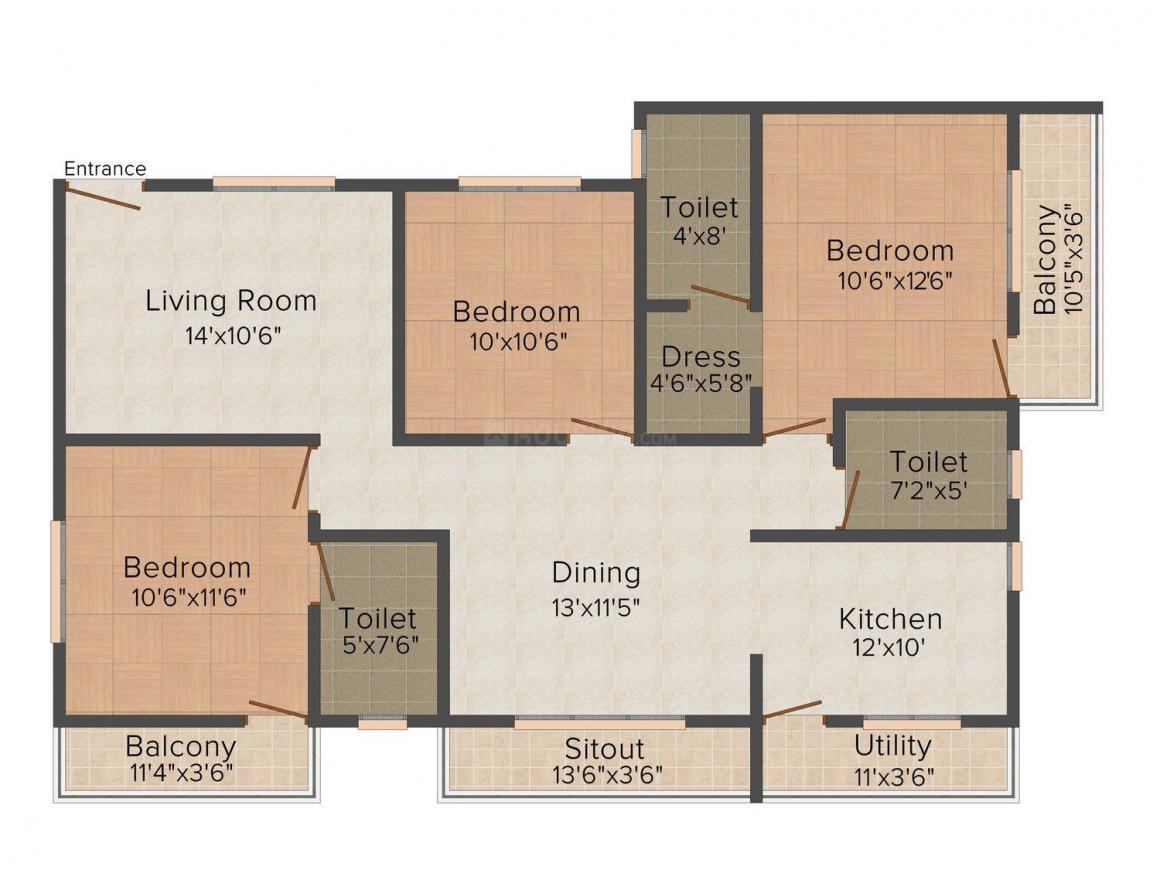 Floor Plan Image of 1176.0 - 1653.0 Sq.ft 2 BHK Apartment for buy in Sowparnika Grandeur