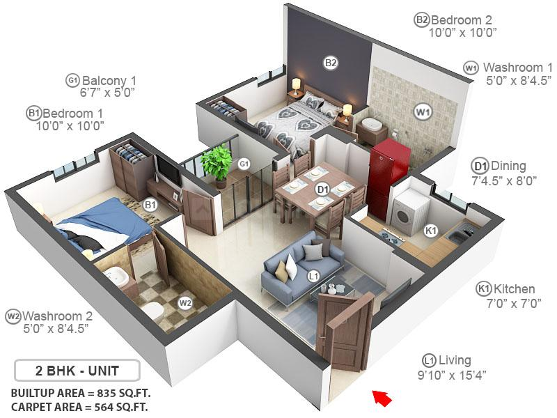 Altis Ashraya Floor Plan: 2 BHK Unit with Built up area of 564 sq.ft 1