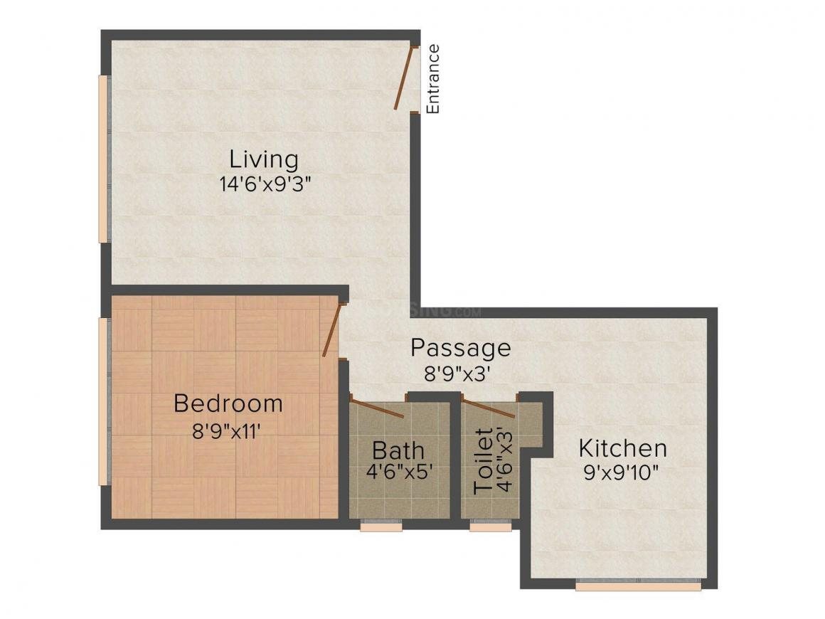 Floor Plan Image of 700.0 - 1100.0 Sq.ft 1 BHK Apartment for buy in Pratham Vedant Enclave