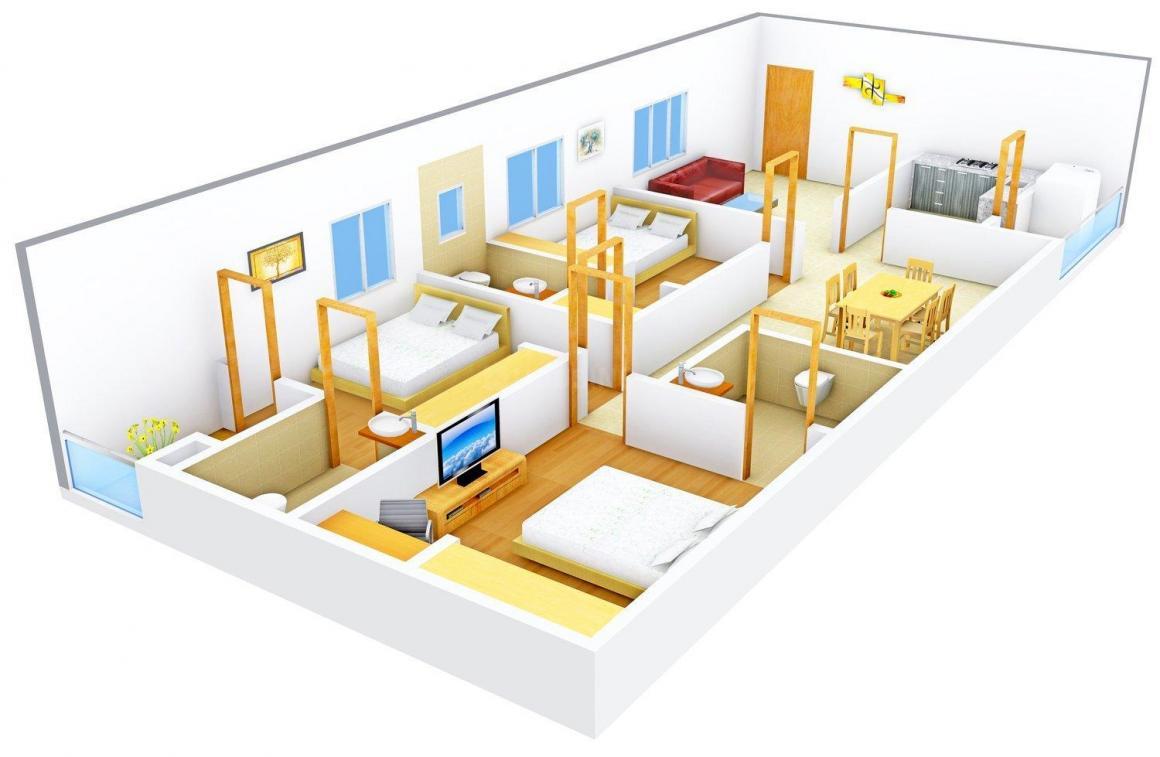 Floor Plan Image of 0 - 1600.0 Sq.ft 3 BHK Apartment for buy in Jubilee Meadows