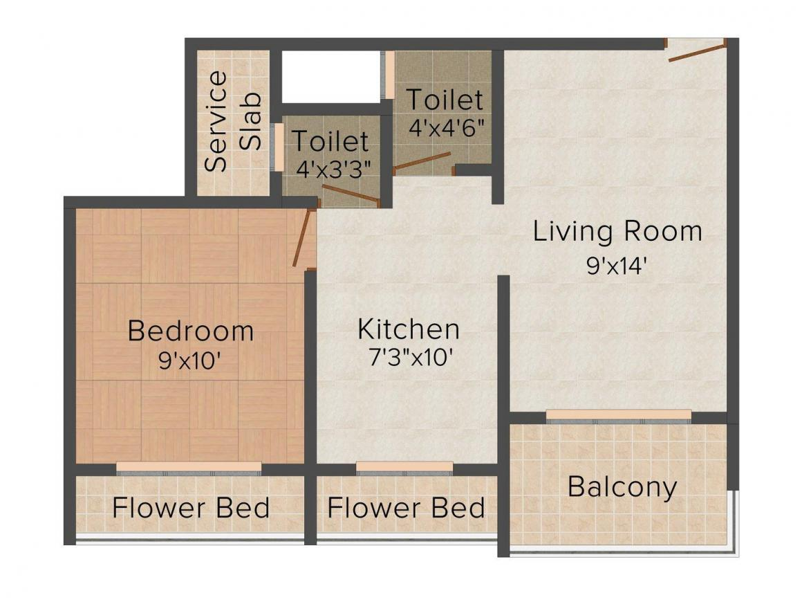 Floor Plan Image of 0 - 448.0 Sq.ft 1 BHK Apartment for buy in Anant Residency