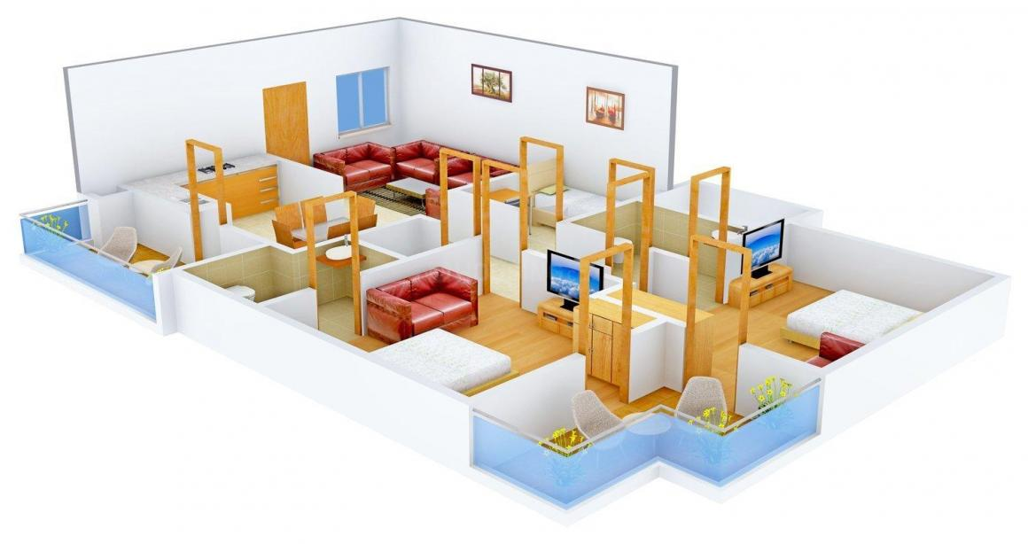 Shubham Gold Homes Floor Plan: 2 BHK Unit with Built up area of 1320 sq.ft 1