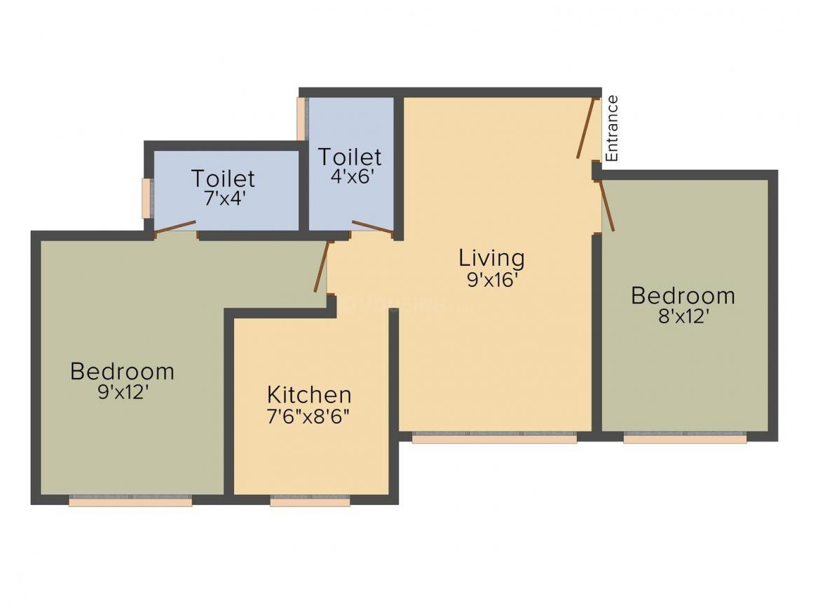 Floor Plan Image of 550 - 600 Sq.ft 1 BHK Apartment for buy in Subhash Ghodela Homes