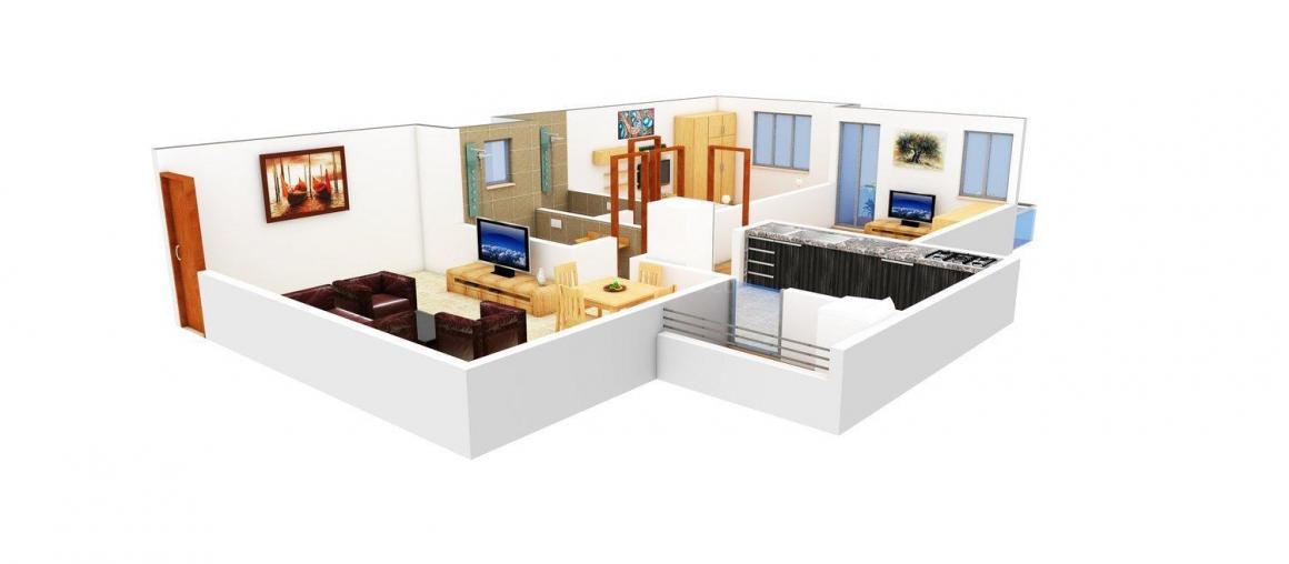 Sundaram Xotik Shiv Sai Tower Floor Plan: 2 BHK Unit with Built up area of 660 sq.ft 1