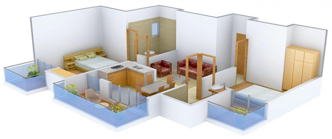 Skytech Matrott Floor Plan: 2 BHK Unit with Built up area of 1015 sq.ft 1