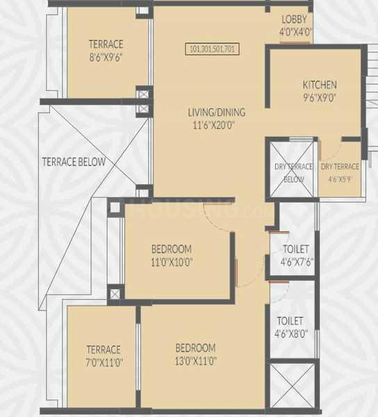 Voski Emerald II Floor Plan: 2 BHK Unit with Built up area of 874 sq.ft 1