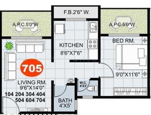 Mukul Developers Mumbai Palms Floor Plan: 1 BHK Unit with Built up area of 355 sq.ft 1