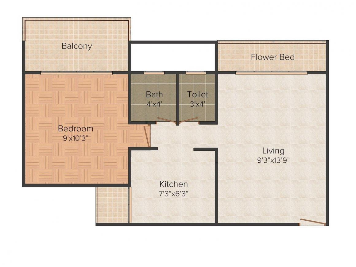 Floor Plan Image of 0 - 640 Sq.ft 1 BHK Apartment for buy in Space India Soliter Space