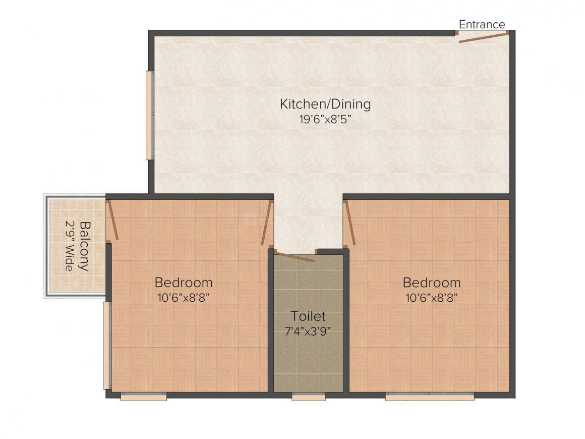 Floor Plan Image of 585.0 - 606.0 Sq.ft 2 BHK Apartment for buy in Pacific Orchid