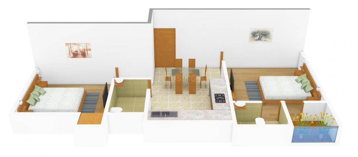 Floor Plan Image of 780.0 - 1490.0 Sq.ft 2 BHK Apartment for buy in Basuki Ekanto Apon