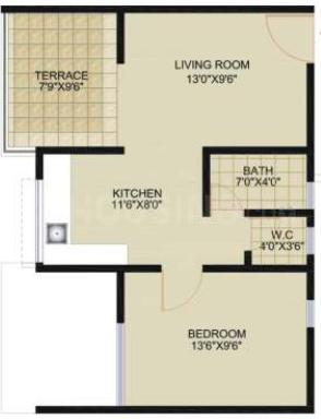 Saarrthi Sinclair Floor Plan: 1 BHK Unit with Built up area of 398 sq.ft 1