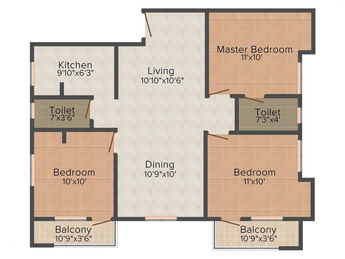 Floor Plan Image of 0 - 1105.0 Sq.ft 3 BHK Apartment for buy in Aaditi Saai Ragam