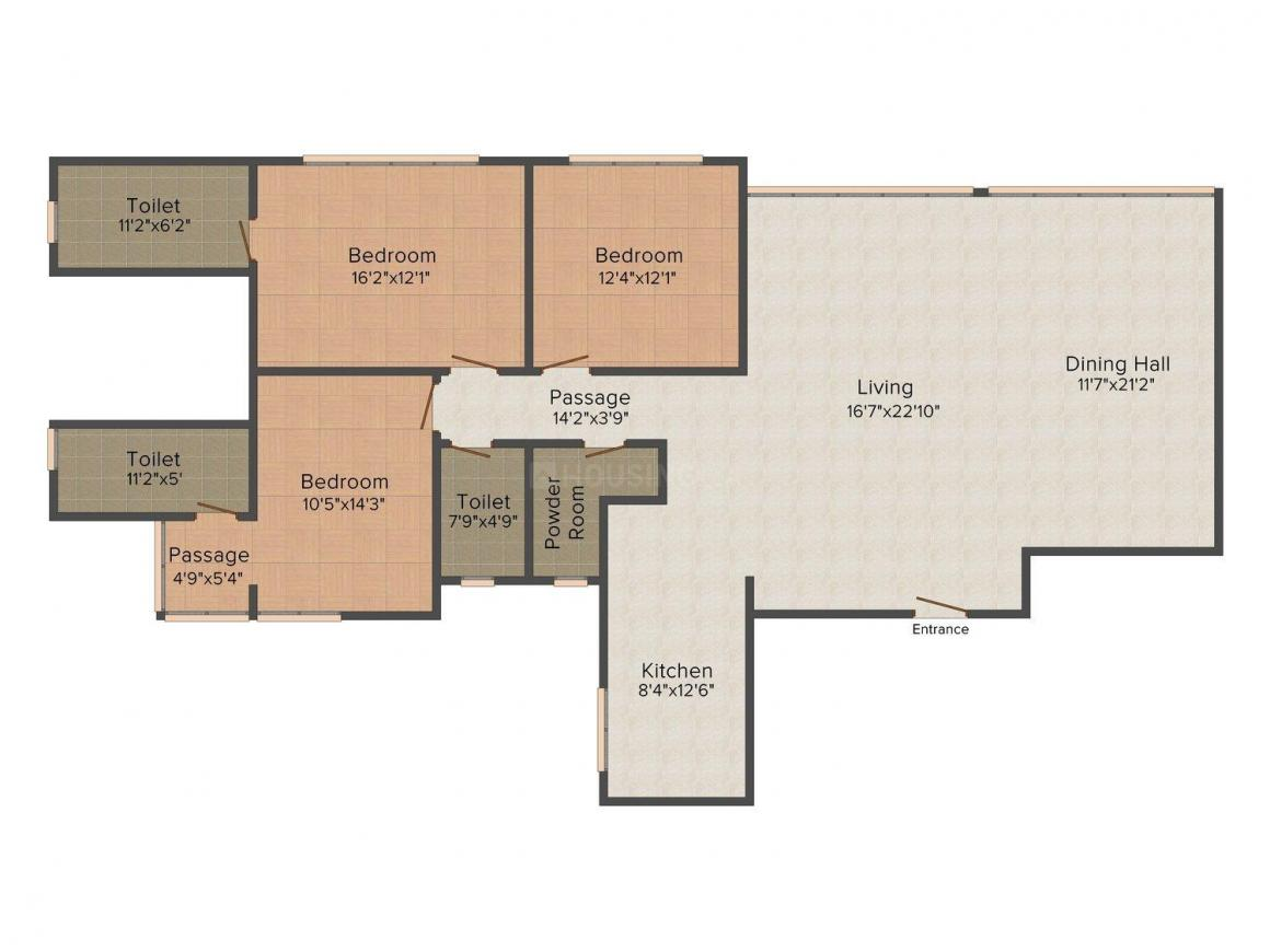 Nirman Excaliber Floor Plan: 3 BHK Unit with Built up area of 2500 sq.ft 1