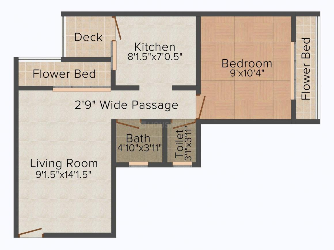 Floor Plan Image of 647.0 - 1058.0 Sq.ft 1 BHK Apartment for buy in Aakar Quality Planet