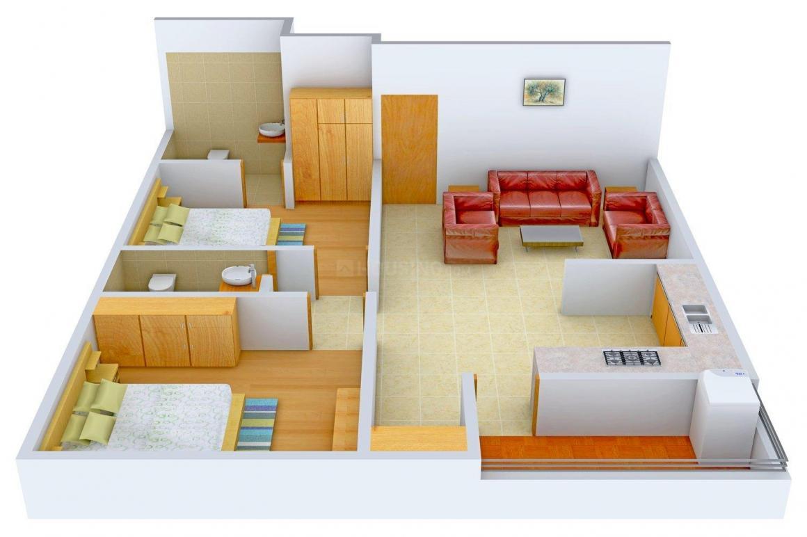 Floor Plan Image of 800.0 - 1015.0 Sq.ft 2 BHK Apartment for buy in Deep Akash Elite