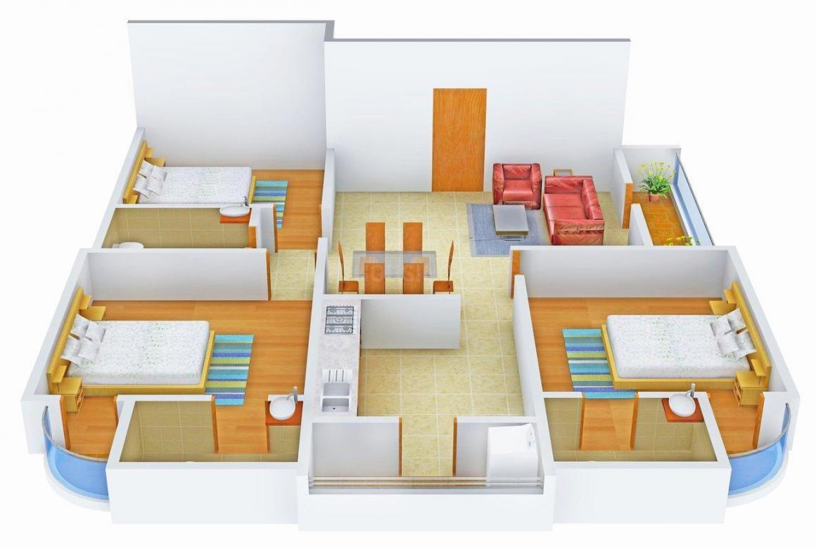 Floor Plan Image of 1160.0 - 1260.0 Sq.ft 3 BHK Apartment for buy in Ashish Prajakta Pinnacle