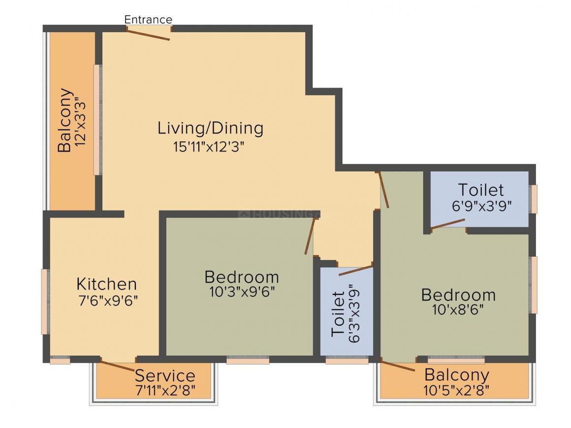 Floor Plan Image of 860.0 - 1121.0 Sq.ft 2 BHK Apartment for buy in Amethyst Kiruhari Enclave