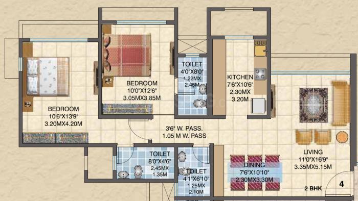 Sun Asmita Sand Dunes Floor Plan: 2 BHK Unit with Built up area of 900 sq.ft 2