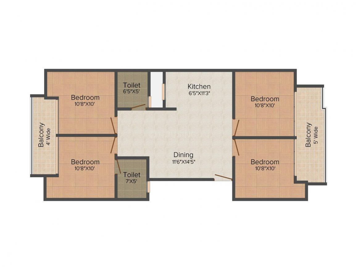 Punit Homes - 7 Floor Plan: 4 BHK Unit with Built up area of 1450 sq.ft 1