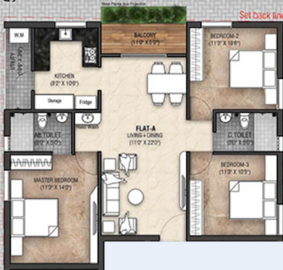 Navtoj Aswini Garden Floor Plan: 3 BHK Unit with Built up area of 1209 sq.ft 1