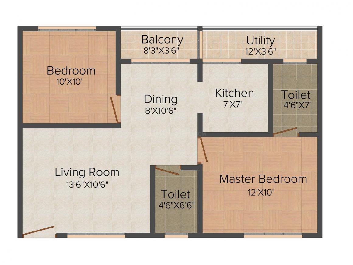 Floor Plan Image of 895 - 1185 Sq.ft 2 BHK Apartment for buy in Viktra Pristine