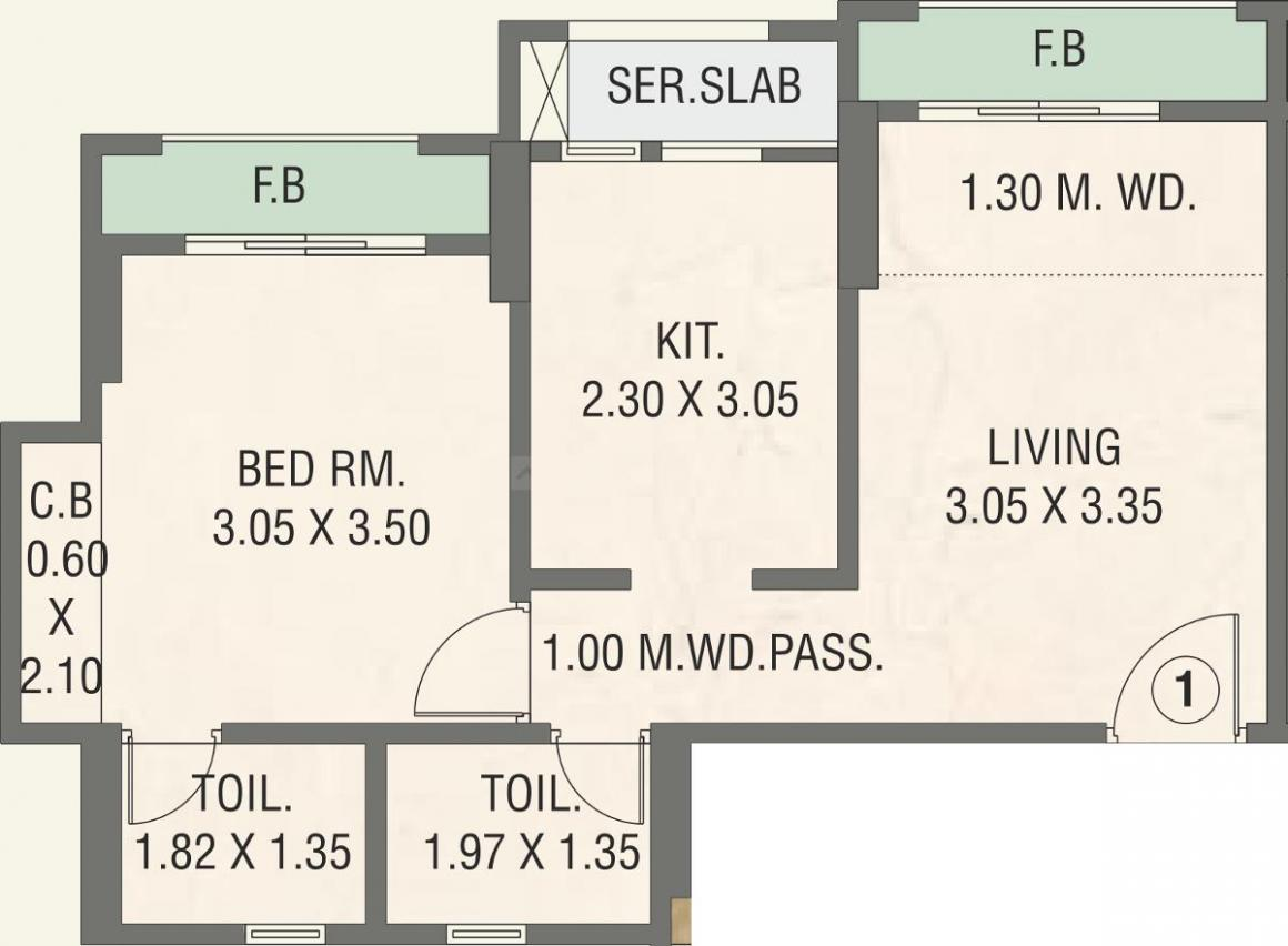 Rosa Oasis Phase 2 Floor Plan: 1 BHK Unit with Built up area of 463 sq.ft 1