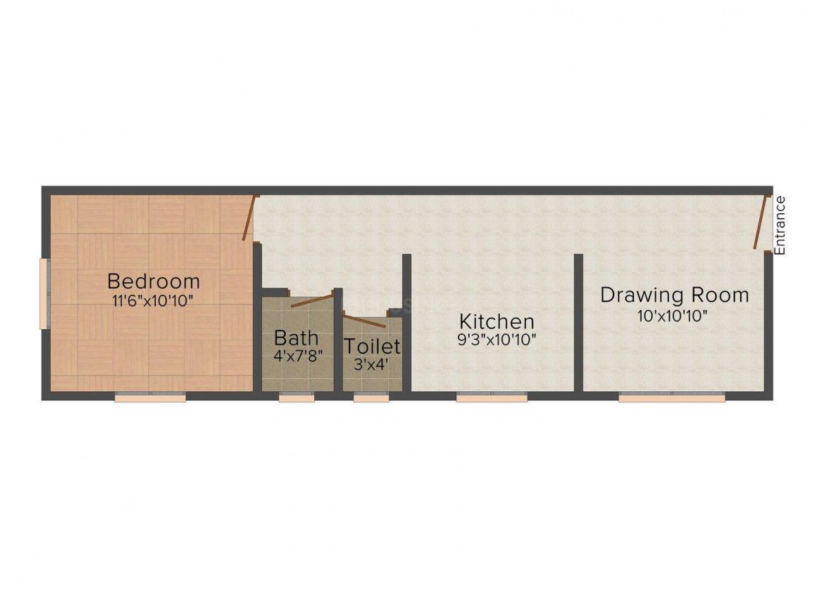 Floor Plan Image of 590 - 850 Sq.ft 1 BHK Apartment for buy in Rajesh Mahavir Chhaya