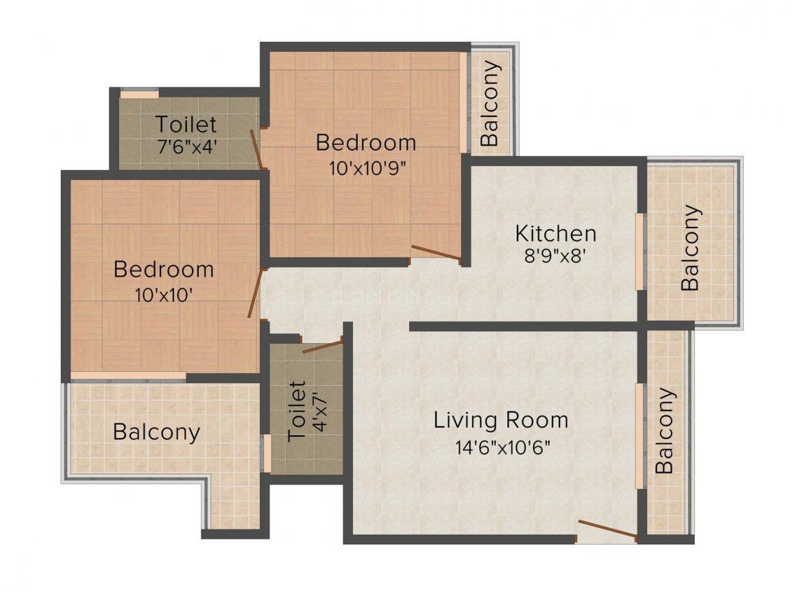Floor Plan Image of 0 - 1050.0 Sq.ft 2 BHK Apartment for buy in Rashmi Simran Heights