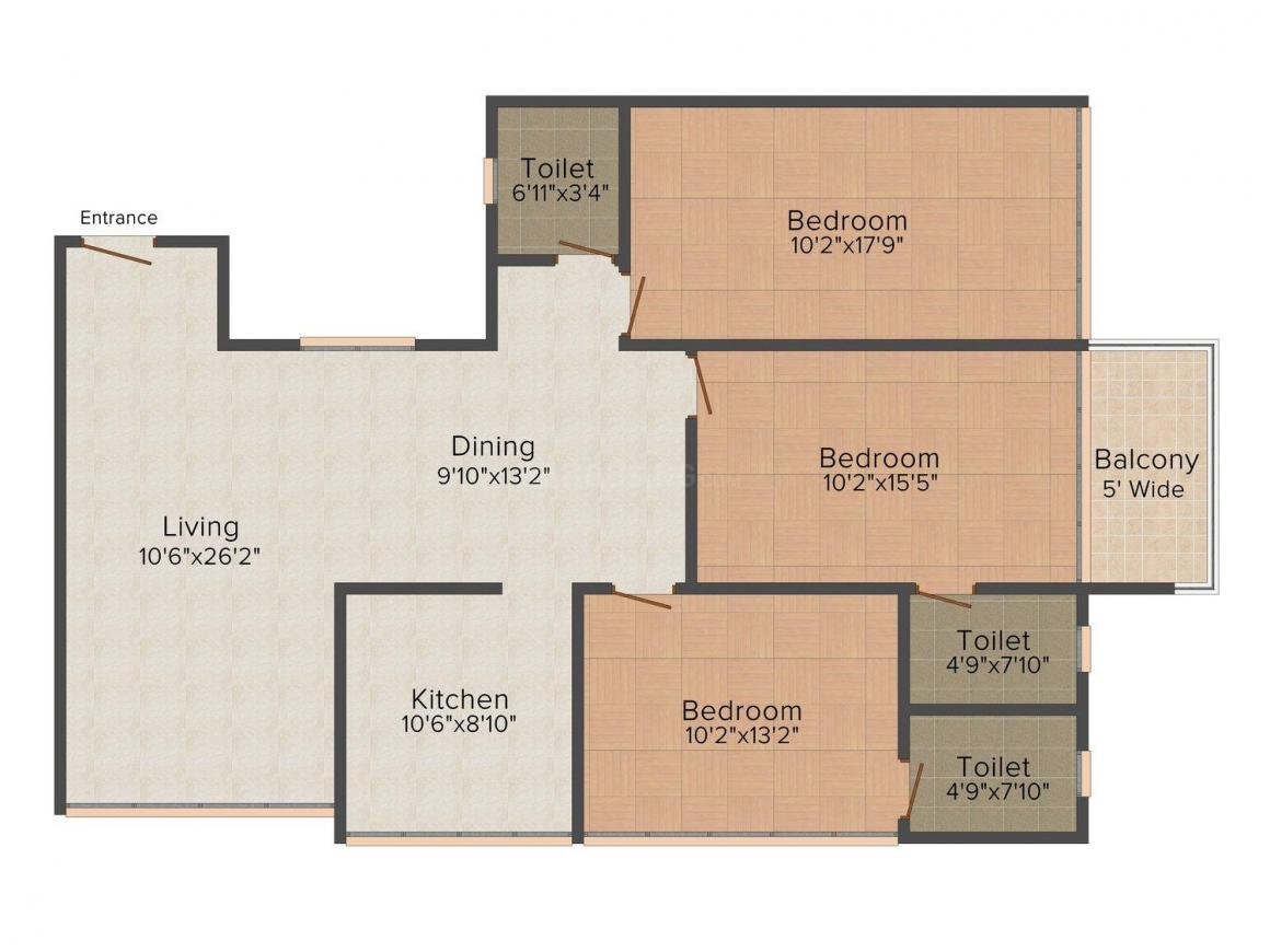 Floor Plan Image of 0 - 1725 Sq.ft 3 BHK Apartment for buy in Dukle Heaven
