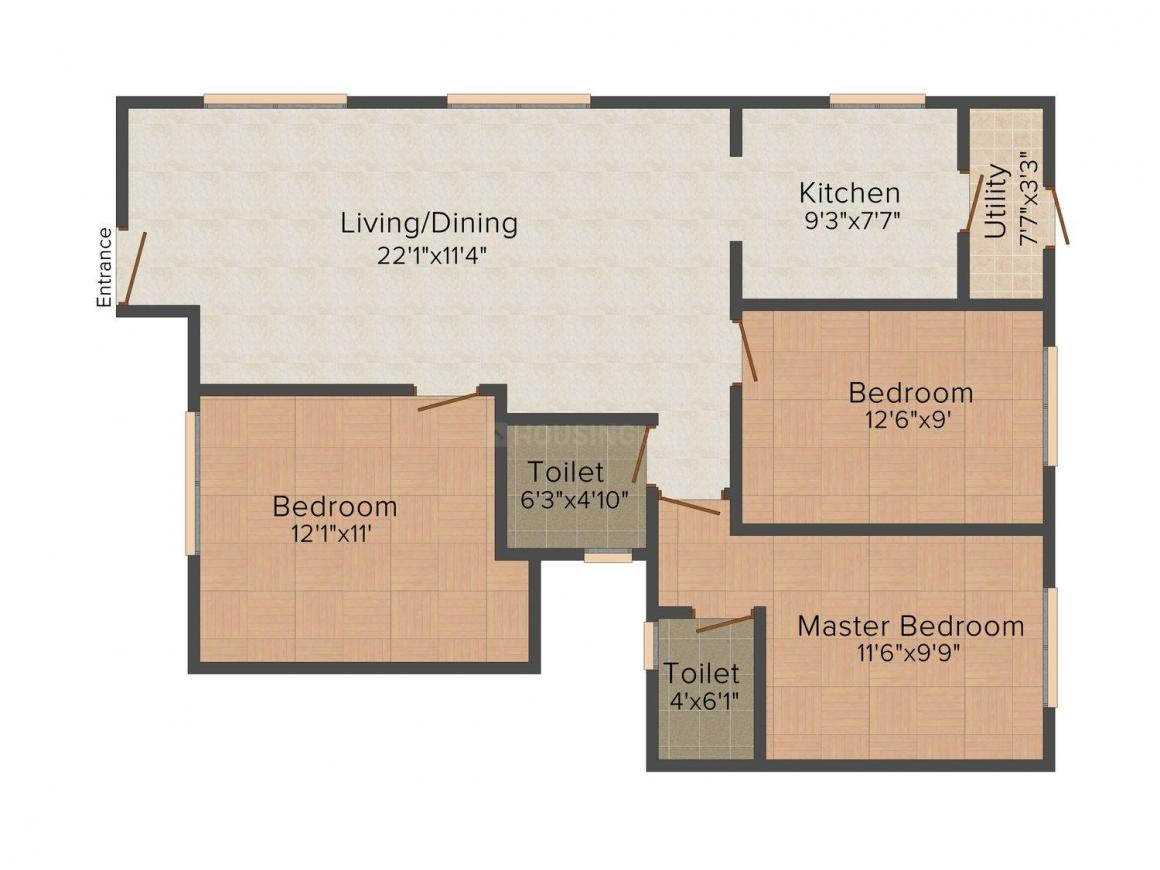 Floor Plan Image of 495 - 1165 Sq.ft 1 BHK Apartment for buy in Queens Narayani